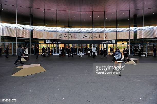 Baselworld entrance on March 16 2016 in Basel Switzerland Held annually Baselworld is the most important watch and jewellery industry showcase event...