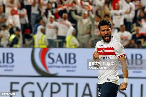 Basem Morsi of Zamalek celebrates after scoring a goal during the Egypt Super Cup final match between Al Ahly and Zamalek at the Mohammed Bin Zayed...
