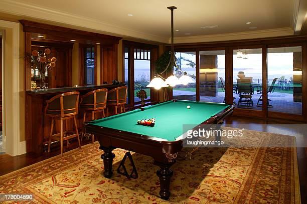 basement games room pool table