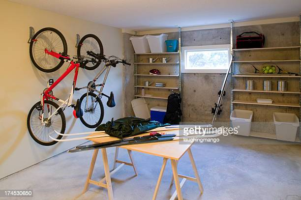 basement house clutter garage storage - sports equipment stock pictures, royalty-free photos & images