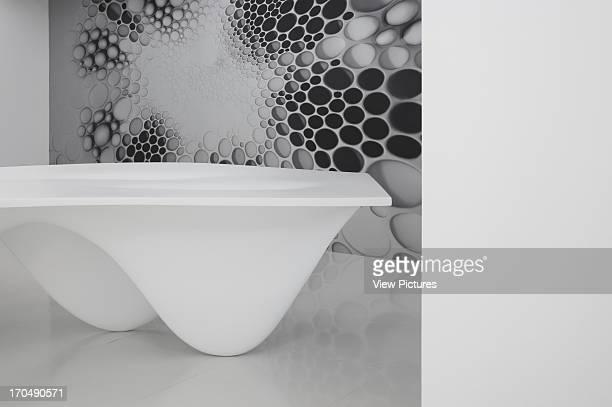 Basement level featuring Aqua Table and Cellular Zaha Hadid Design Gallery with Fudge Hair PopUp Salon Art Installation Europe United Kingdom Zaha...