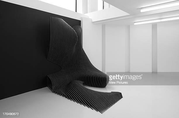 Basement level featuring Cirrus Zaha Hadid Design Gallery with Fudge Hair PopUp Salon Art Installation Europe United Kingdom Zaha Hadid Architects