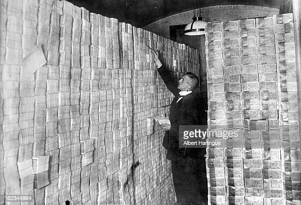 Basement of a bank full of banknotes at the time of the Mark devaluation during the economic crisis Weimar Republic 1923