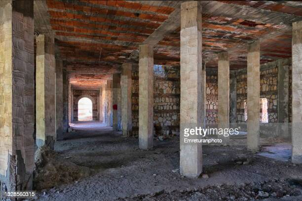 basement of an abandoned hotel building in çeşme. - emreturanphoto stock pictures, royalty-free photos & images