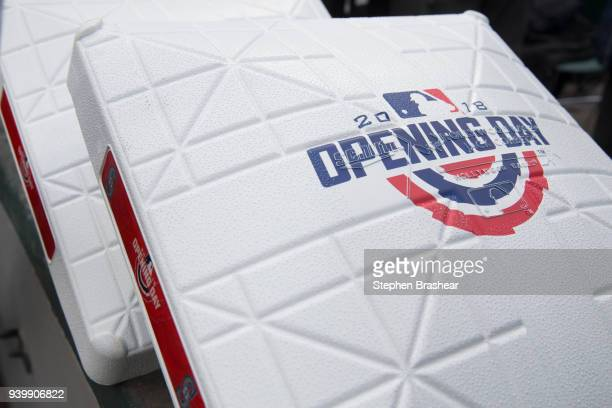 Bases are pictured before an opening day game between the Cleveland Indians and the Seattle Mariners at Safeco Field on March 29 2018 in Seattle...