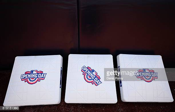 Bases with the Opening Day logo sit on the field before a baseball game between the San Diego Padres and the Los Angeles Dodgers at PETCO Park on...