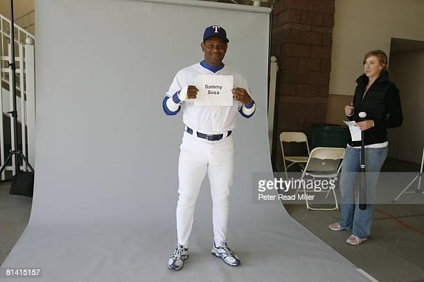 Basetball Portrait of Texas Rangers nonroster invitee Sammy Sosa at photo day during spring training Surprise AZ 2/25/2007
