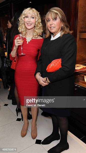 """Basha Briggs and Eve Pollard attend the launch of Nicky Haslam's new book """"A Designer's Life"""" at Ralph Lauren on November 19, 2014 in London, England."""