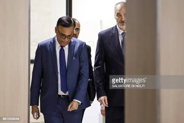 Bashar alJaafari Syrian chief negotiator and Ambassador of the Permanent Representative Mission of the Syria to UN arrives for a round of negotiation...