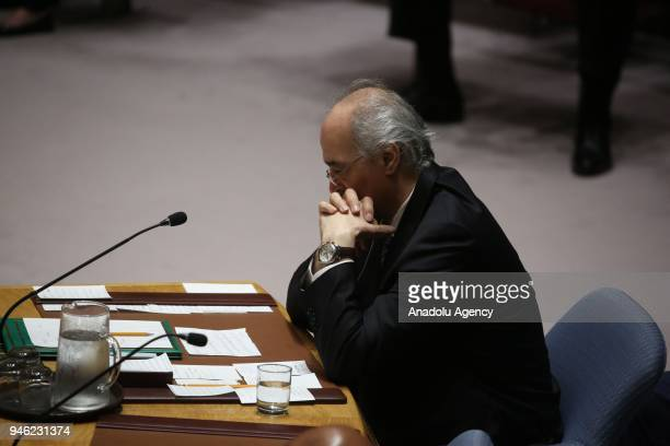 Bashar Jaafari permanent Representative of the Syrian Arab Republic to the United Nations attends a UN Security Council meeting following the United...