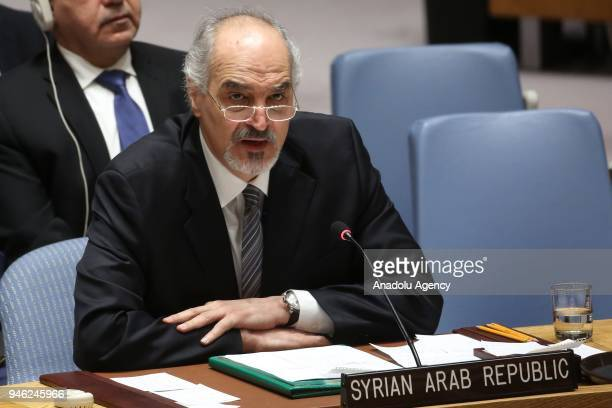 Bashar Jaafari permanent Representative of the Syrian Arab Republic to the United Nations gives a speech during a UN Security Council meeting...