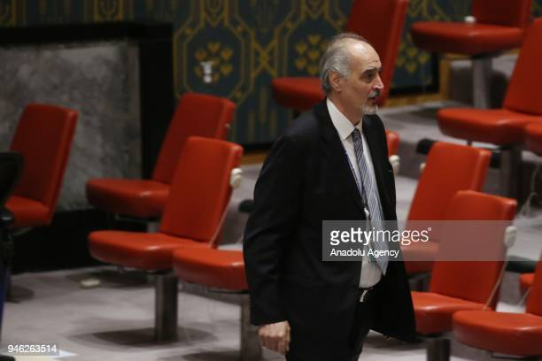 Bashar Jaafari permanent Representative of the Syrian Arab Republic to the United Nations is seen after a UN Security Council meeting following the...