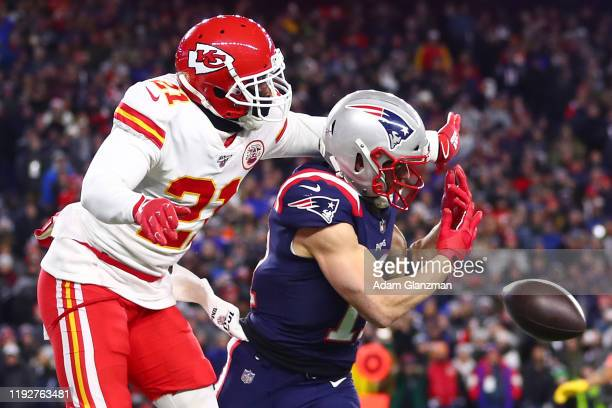 Bashaud Breeland of the Kansas City Chiefs breaks up a touchdown pass intended for Julian Edelman of the New England Patriots during the fourth...