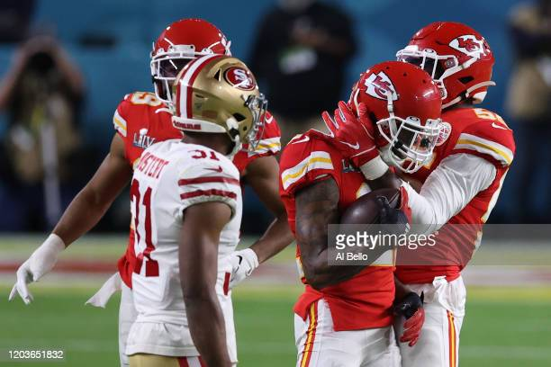 Bashaud Breeland of the Kansas City Chiefs celebrates after intercepting Jimmy Garoppolo of the San Francisco 49ers during the second quarter in...