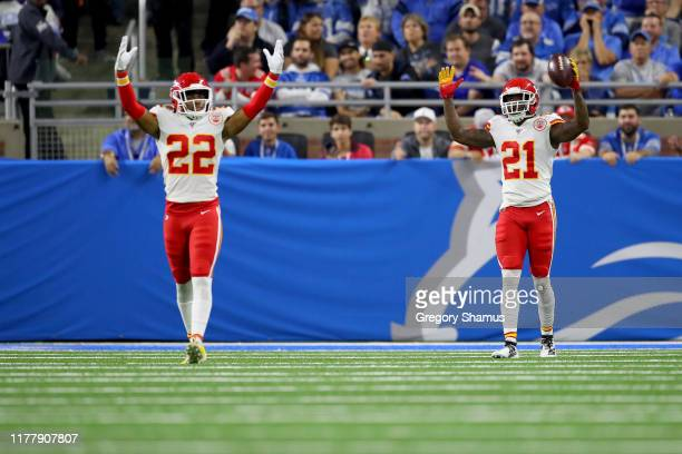 Bashaud Breeland of the Kansas City Chiefs celebrates after scoring a 100 yard touchdown off of a fumble by the Detroit Lions during the third...