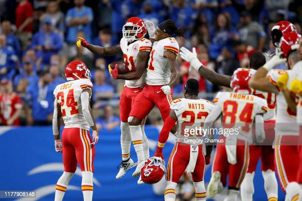 Bashaud Breeland of the Kansas City Chiefs celebrates with his teammates after scoring a 100 yard touchdown off of a fumble by the Detroit Lions...