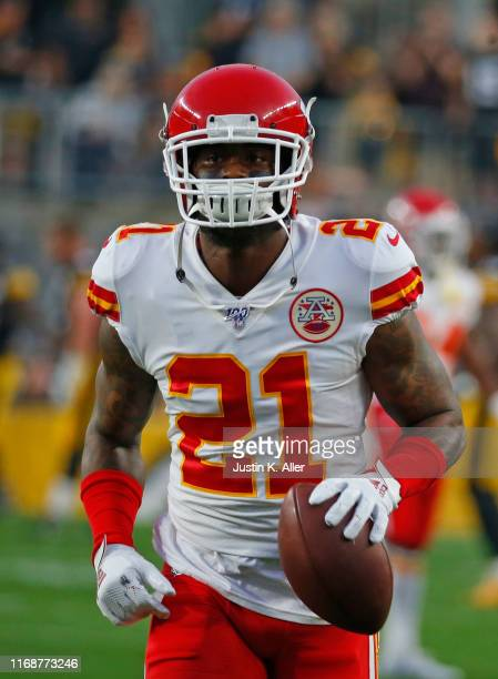 Bashaud Breeland of the Kansas City Chiefs in action during a preseason game against the Pittsburgh Steelers on August 17 2019 at Heinz Field in...