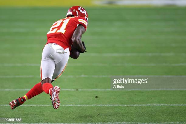 Bashaud Breeland of the Kansas City Chiefs intercepts a pass against the San Francisco 49ers during the second half in Super Bowl LIV at Hard Rock...