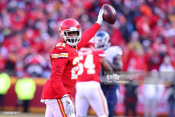 Bashaud Breeland of the Kansas City Chiefs reacts after a possible interception later ruled an incomplete pass in the first quarter against the...