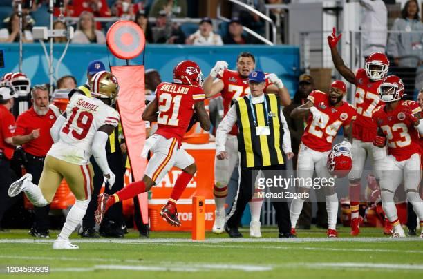 Bashaud Breeland of the Kansas City Chiefs returns an interception against the San Francisco 49ers in Super Bowl LIV at Hard Rock Stadium on February...