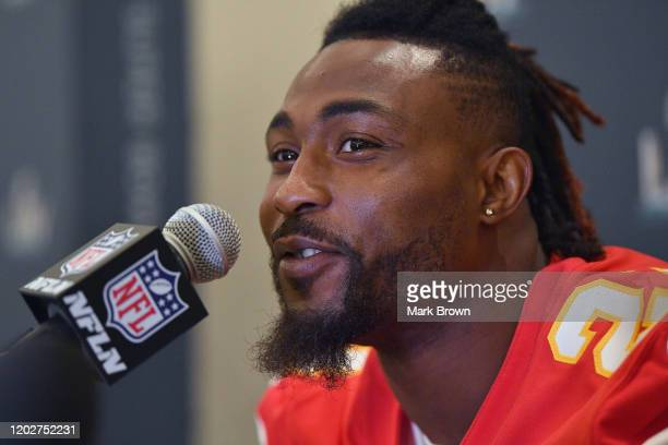 Bashaud Breeland of the Kansas City Chiefs speaks to the media during the Kansas City Chiefs media availability prior to Super Bowl LIV at the JW...