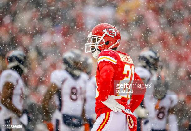 Bashaud Breeland of the Kansas City Chiefs stands in a heavy snow between plays in the third quarter against the Denver Broncos at Arrowhead Stadium...