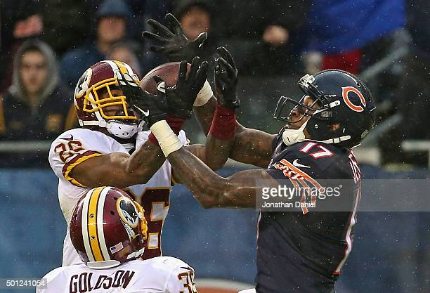 Bashaud Breeland of the Washington Redskins breaks up a pass intended for Alshon Jeffery of the Chicago Bears at Soldier Field on December 13 2015 in...