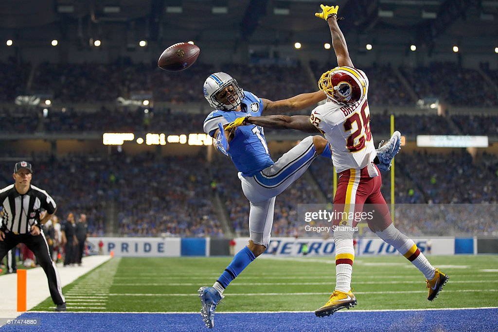 Bashaud Breeland #26 of the Washington Redskins breaks up a pass intended for Marvin Jones #11 of the Detroit Lions during third quarter action at Ford Field on October 23, 2016 in Detroit, Michigan