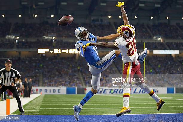 Bashaud Breeland of the Washington Redskins breaks up a pass intended for Marvin Jones of the Detroit Lions during third quarter action at Ford Field...