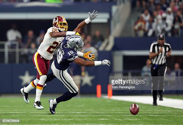 Bashaud Breeland of the Washington Redskins defends a pass to Brice Butler of the Dallas Cowboys in their game at ATT Stadium on November 24 2016 in...