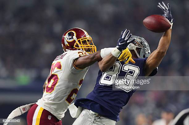 Bashaud Breeland of the Washington Redskins defends a pass to Terrance Williams of the Dallas Cowboys during the fourth quarter of their game at ATT...