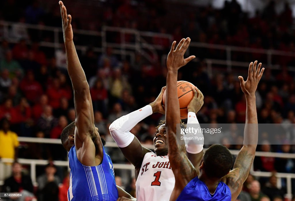Bashir Ahmed #1 of St. John's in action against New Orleans during an NCAA basketball game at Carnesecca Arena on November 10, 2017 in the Jamaica neighborhood of the Queens borough of New York City.