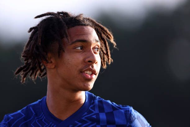 Bashir Humphreys of Chelsea during the Premier League 2 match between Tottenham Hotspur and Chelsea at The Lamex Stadium on August 16, 2021 in...