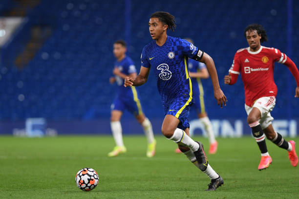 Bashir Humphreys of Chelsea during the Premier League 2 match between Chelsea and Manchester United at Stamford Bridge on August 20, 2021 in London,...