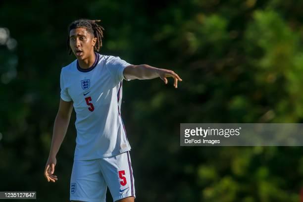 Bashir Humprheys of England gestures during the international friendly match between Germany U19 and England U19 at Salinenstadion on September 6,...