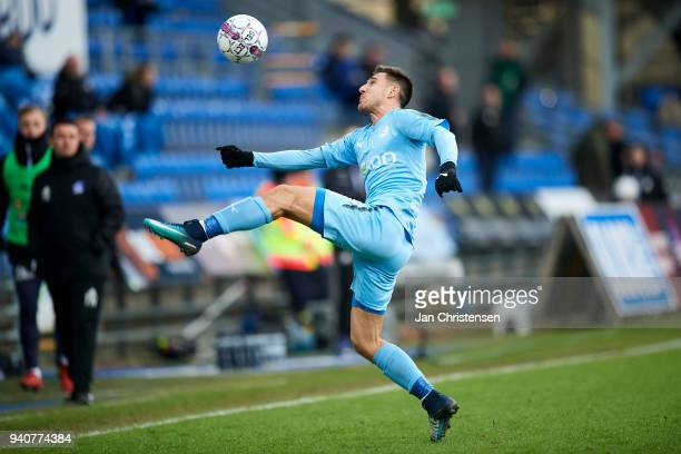 Bashkim Kadrii in action during the Danish Alka Superliga match between Randers FC and Lyngby BK at BioNutria Park Randers on April 01 2018 in...