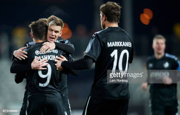 Bashkim Kadrii Kasper Enghardt ands Jonas Bager of Randers FC celebrate after scoring their first goal during the Danish Alka Superliga match between...