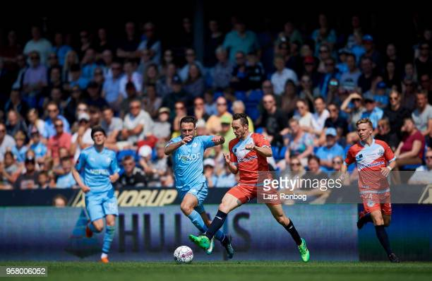 Bashkim Kadrii of Randers FC and Matheus Leiria of FC Helsingor compete for the ball during the Danish Alka Superliga match between Randers FC and FC...