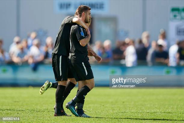 Bashkim Kadrii of Randers FC and teammate celebrate his 11 goal during the Danish Alka Superliga match between FC Helsingor and Randers FC at...