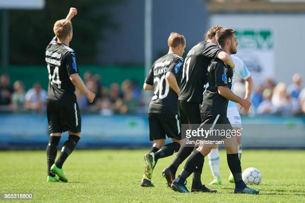 Bashkim Kadrii of Randers FC and teammates celebrate after his 11 goal during the Danish Alka Superliga match between FC Helsingor and Randers FC at...