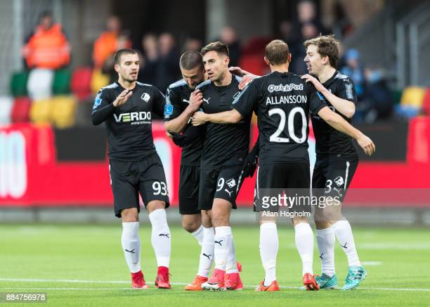 Bashkim Kadrii of Randers FC celebrates after scoring their first goal during the Danish Alka Superliga match between Silkeborg IF and Randers FC at...
