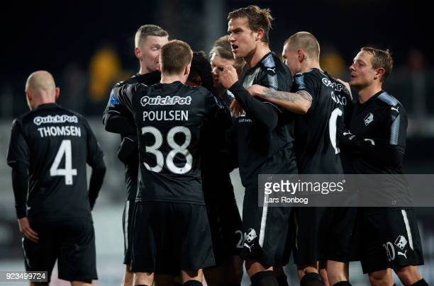 Bashkim Kadrii of Randers FC celebrates after scoring their first goal during the Danish Alka Superliga match between AC Horsens and Randers FC at...