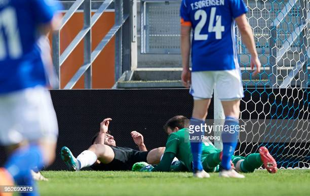 Bashkim Kadrii of Randers FC celebrates after scoring their third goal during the Danish Alka Superliga match between Lyngby BK and Randers FC at...