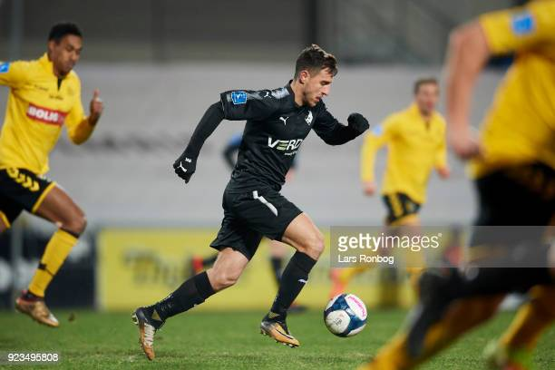 Bashkim Kadrii of Randers FC controls the ball during the Danish Alka Superliga match between AC Horsens and Randers FC at CASA Arena Horsens on...