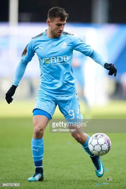 Bashkim Kadrii of Randers FC controls the ball during $the Danish Alka Superliga match between Randers FC and Lyngby BK at BioNutria Park Randers on...