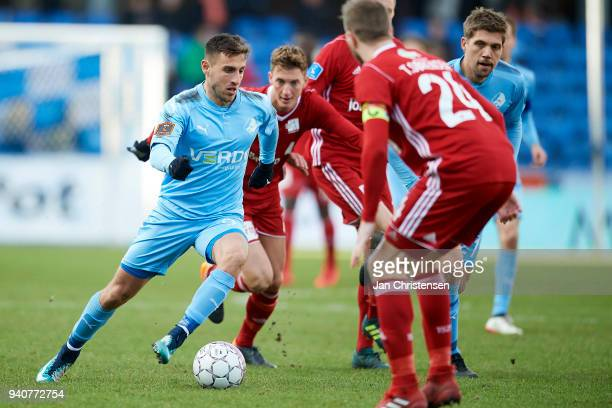 Bashkim Kadrii of Randers FC in action during the Danish Alka Superliga match between Randers FC and Lyngby BK at BioNutria Park Randers on April 01...