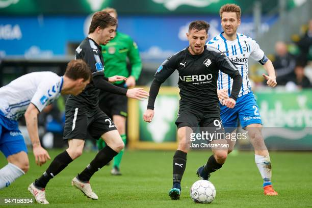 Bashkim Kadrii of Randers FC in action during the Danish Alka Superliga match between OB Odense and Randers FC at EWII Park on April 15 2018 in...