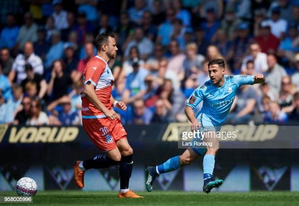 Bashkim Kadrii of Randers FC in action during the Danish Alka Superliga match between Randers FC and FC Helsingor at BioNutria Park on May 13 2018 in...