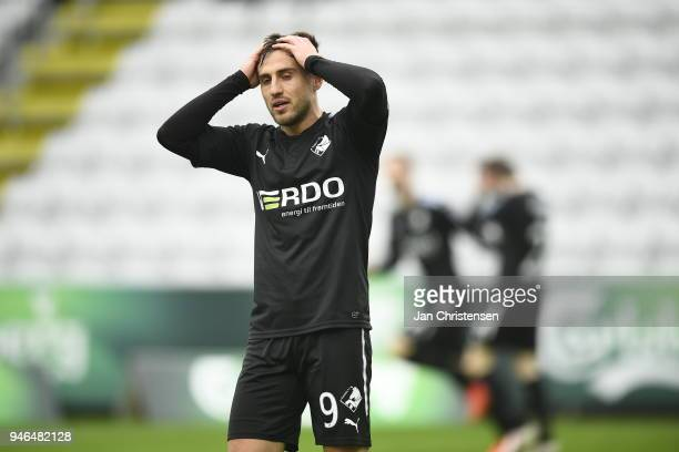 Bashkim Kadrii of Randers FC looks dejected after a missed goal during the Danish Alka Superliga match between OB Odense and Randers FC at EWII Park...