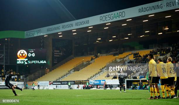 Bashkim Kadrii of Randers FC scores the 10 goal during the Danish Alka Superliga match between AC Horsens and Randers FC at CASA Arena Horsens on...